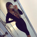 Sexy Women Bodycon Dress 2017 New Autumn Plus Size V-neck Criss Long Sleeve Black White Night Club Bandage Party Dresses