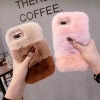 Luxury Woman Lady Fluffy Winter Warm Wool Rabbit Hair Rhinestone Diamond Case Cover For Samsung Galaxy