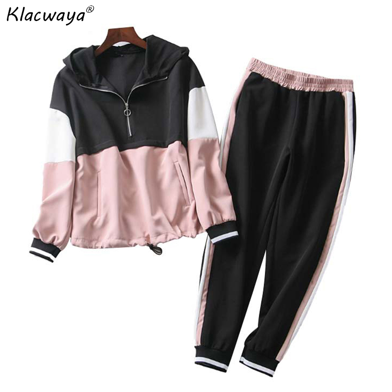 Pink Patchwork Two Piece Set Outfit Women 2019 Spring-Autumn Hooded Bomber Jacket Set Ladies Joggers Set Girls Loose Hoodies Set