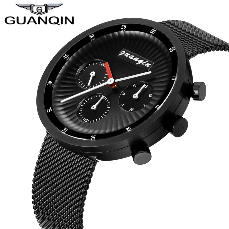 GUANQIN Luxury Brand Men Watch 24 Hour Week Date Display Stainless Steel Mesh Band Student Quartz Wrist Watch Relogio Masculino valentine womage quartz rhinestone decoration wrist watch with dots hour marks silver case steel band for couple