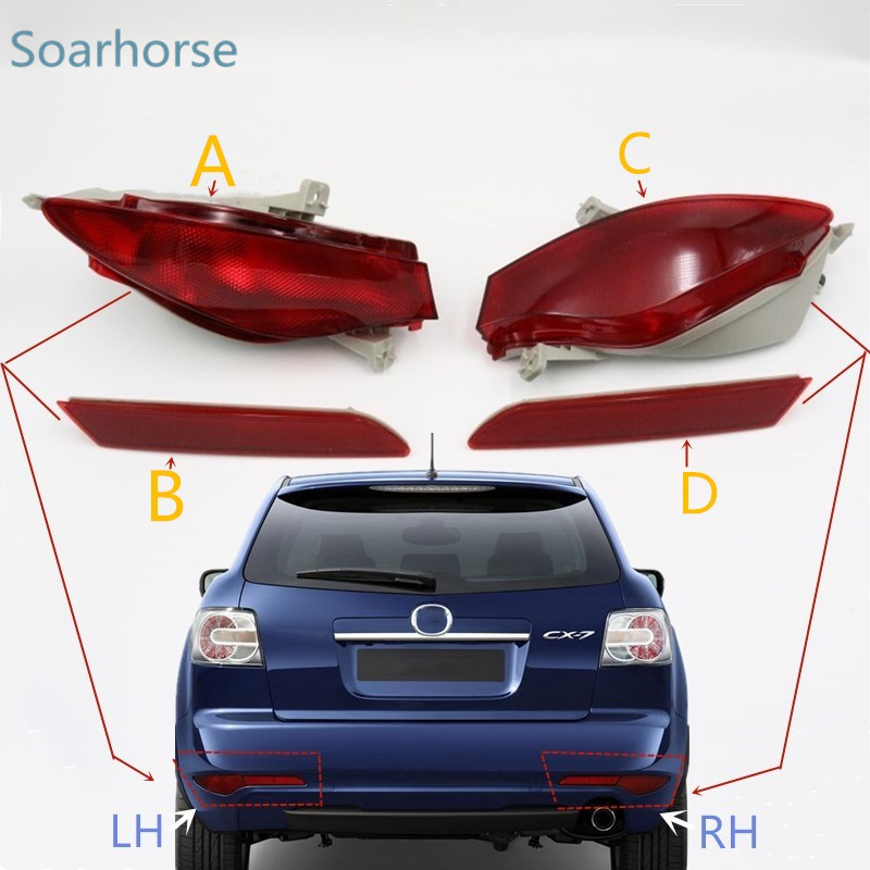 Car Rear Bumper fog lamp Tail Brake Reflector Light For Mazda CX-7 CX7 2009 2010 2011 2012 +