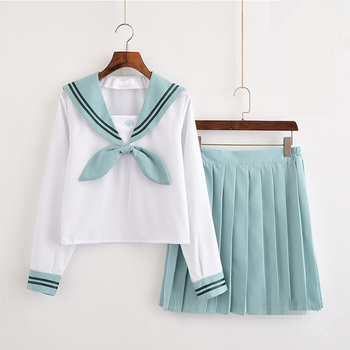 Japanese School Uniform For Girls Sailor Tops+bow tie+Skirt Navy Style Students Clothes For Girl   Lala Cheerleader clothing japanese school uniforms anime cos sailor suit tops bow tie skirt jk navy style students clothes for girl short sleeve