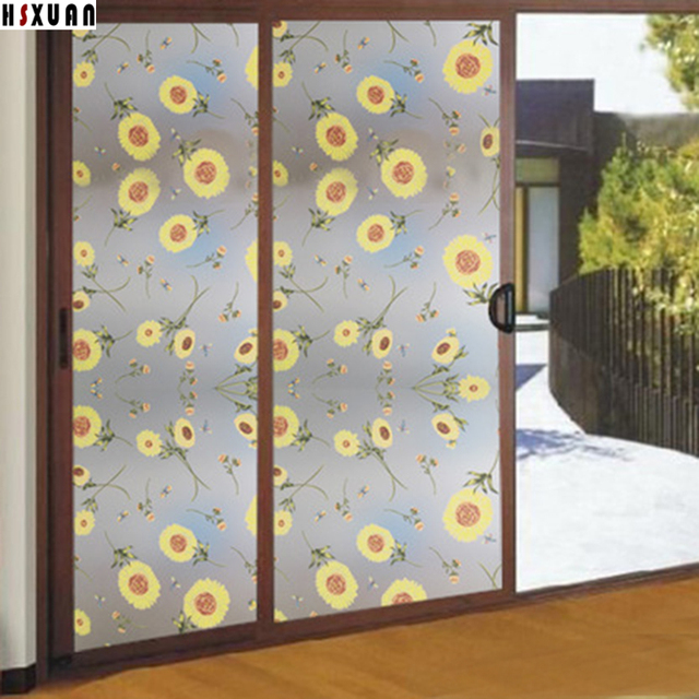 opaque decorative window stickers 80x100cm frosted flower self adhesive living room silding door window film Hsxuan & opaque decorative window stickers 80x100cm frosted flower self ...