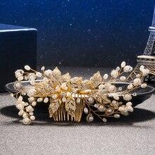 Luxurious Gold Bride Pearl Flower Hair Combs Rhinestones Wedding Headdress Hair Jewelry Star Shape Crystal Hair Accessories