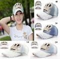 2014 new Retail Crown Point drill pearl cowboy denim women baseball cap men Hat rhinestone print Diamond Point