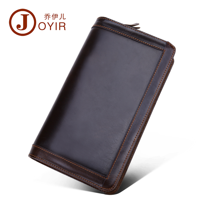 JOYIR 2016 Genuine Leather Men Wallets New Man Wallet Double Zipper Men Purse Fashion Male Long