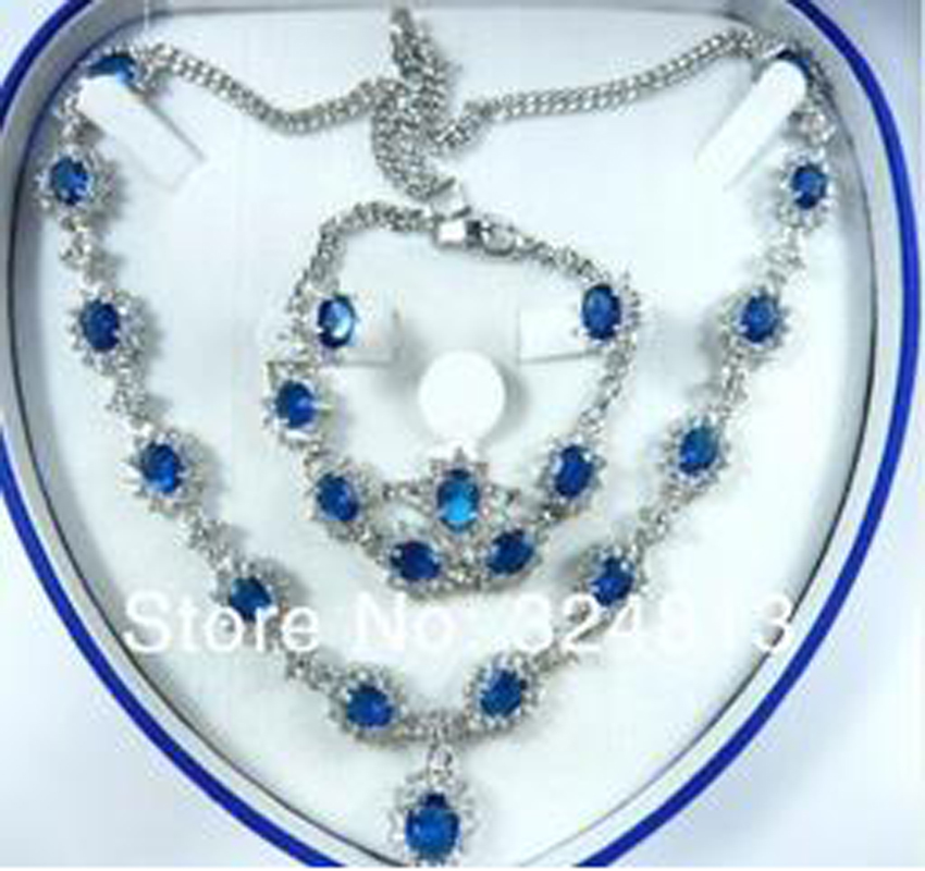 New Bridal Fashion Jewellery Women Set blue Zirconia Necklace Earring Ring Bracelet AA5689 new women s gift true really earring bracelet necklace ring mnjh