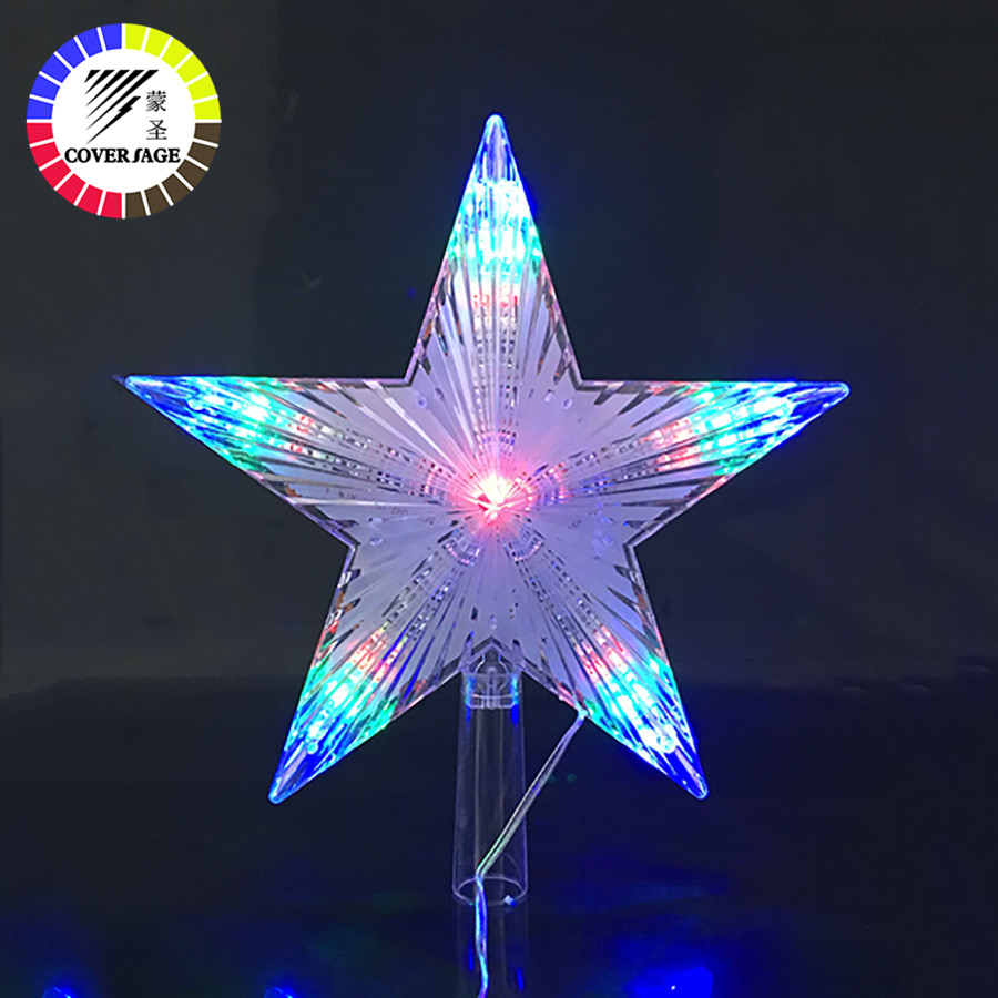 Coversage Christmas Tree Top Star Led String Fairy Lights Curtain Led Christmas Xmas Wedding Decoration Party Garden Holiday