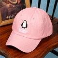 Корея Стиль Оптовая женская Бейсболка Пингвин Дизайн Розовый Цвет Прекрасный Hat Девушки Осень Платье Мода Повседневная 2016 Горячей