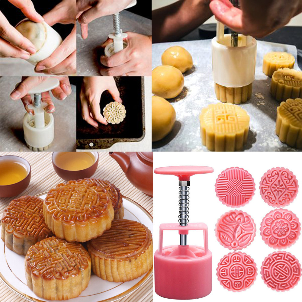 DIY 100g Cake Molds Chinese Tranditional Mooncake Mold ABS Mold Mid-Autumn Festival Hand Press Moon Cake Cutter Molds Set