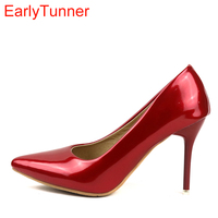 2017 Brand New Sexy Red Pink Women Glossy Bridal Pumps Black Green Stiletto Heel Lady Nude