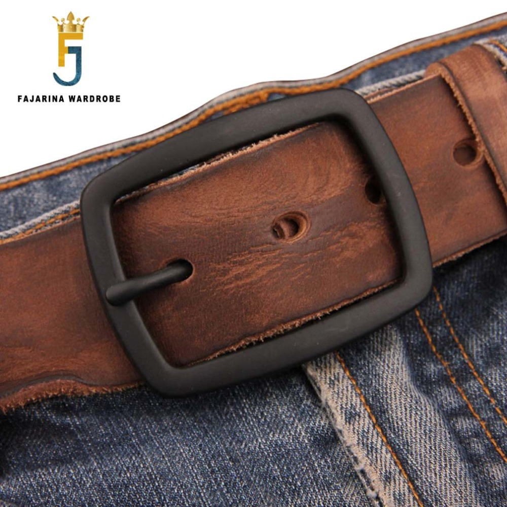 FAJARINA Quality Mens Retro 38mm Width Belt Folded Genuine Leather Man Black Clasp Buckle Belts for Men Styles Jeans N17FJ196