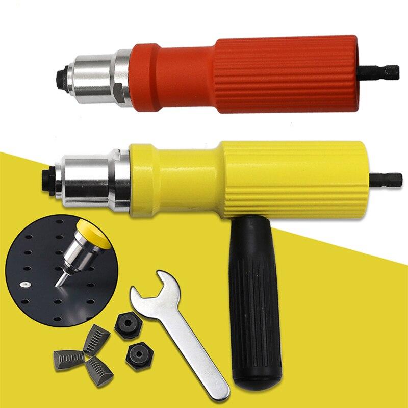 Electric Rivet Nut Gun Set Riveting Adapter Insert For Cordless Drill Riveter Gun Nut Tool Riveting Drill Adapter 2.4mm-4.8mm