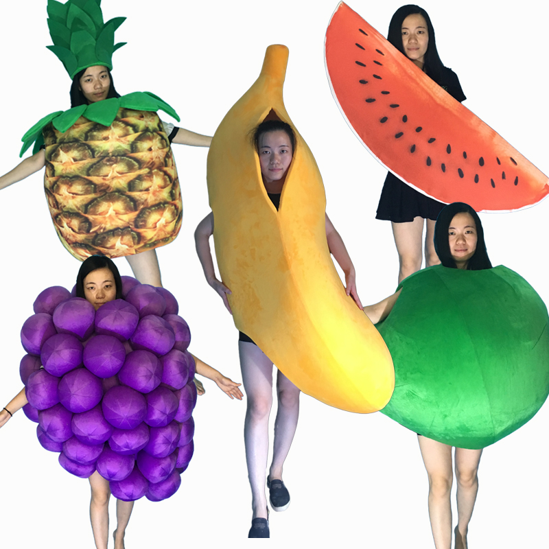 hot sale professional mascot costume adult size banana grape watermelon pineapple apple fruit mascot costume halloween - Banana Costume Halloween