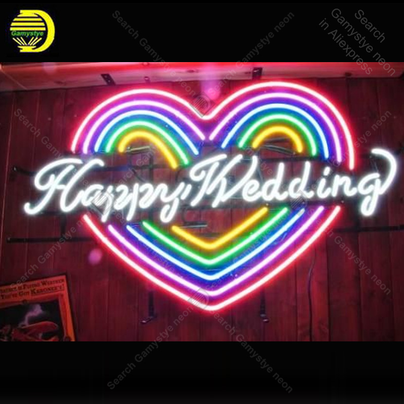 Enseigne au néon de mariage heureux forme de coeur ampoules au néon signe accessoires d'affichage de beauté néon salle de lumière restaurant publicité