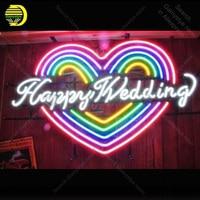 Wedding Neon Sign Happily Wedding Heart Shape Neon Bulbs Sign Beauty Display Accesaries neon light Room restaurant Advertise