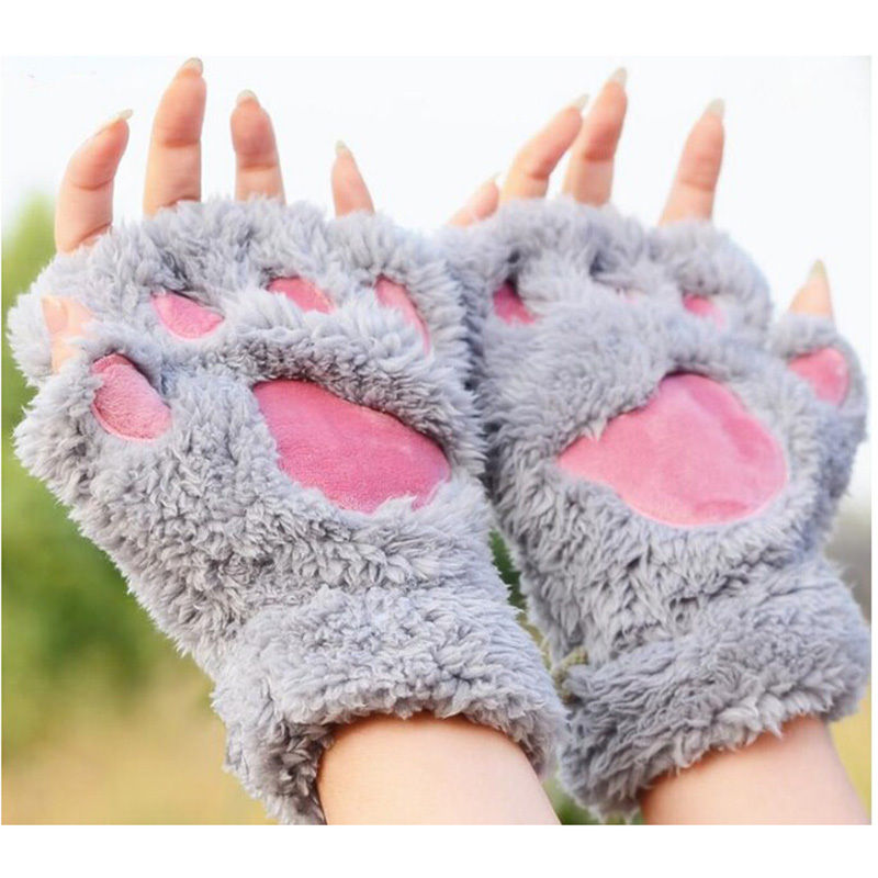 1Pair Women Warm Soft Bear's Paw Furry Ts