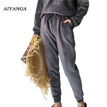 New Winter Thick Fleece Harem Pants For Women Elastic Waist lace up Solid Keep warm Trousers big Size Casual Loose Female