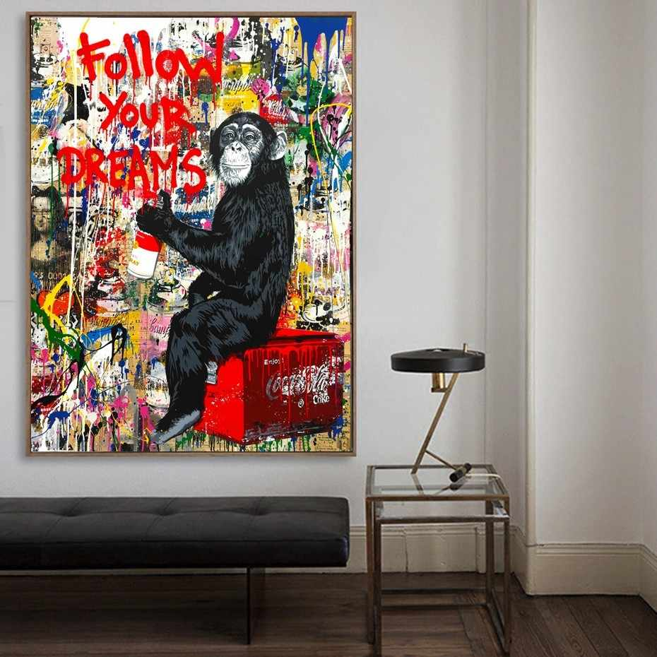 Street Wall Art Banksy Graffiti Canvas Paintings Abstract Einstein Pop Art Canvas Prints For Kids Room Cuadros Decoration