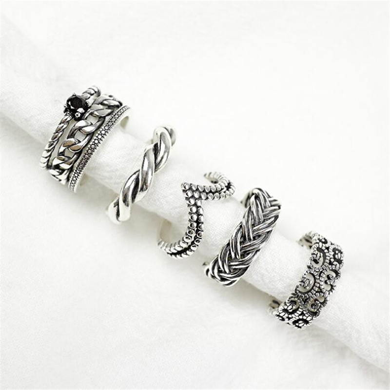 925 Sterling Silver Twist Spider Open Ring Black Color f4dPW