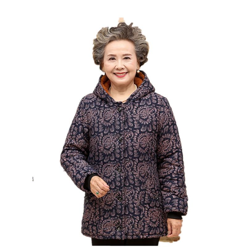 ФОТО Latest Winter Fashion Women Parkas Hooded Thicken Super warm Old age Coat Printing Loose Plus-size Cotton-padded jacket NZ354