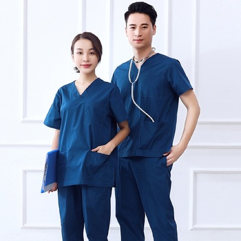 Hospital & Dental Clinic Woman Man Doctor Short Sleeve Surgical Uniform Isolation Scrub Set,Zipper Medical Suit Set. Y1
