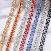 10Yards Clear Rhinestone Sew On AB 3 Rows Gold Chain Silver Close Chain Trim Trimming DIY Sewing Accessories Art Craft