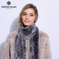 Fashion Women Scarf Winter 2018 Brand Luxury Knitted Female Real Rex Rabbit Fur Scarf Collar Warm Neck Color Pompoms S 937