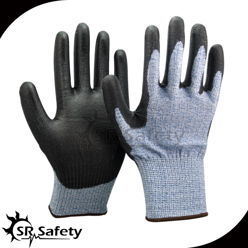 SRSAFETY 1 Pairs 13 guage blue nylon HPPE working gloves,cut level 5 Soft Cut Resistant Gloves