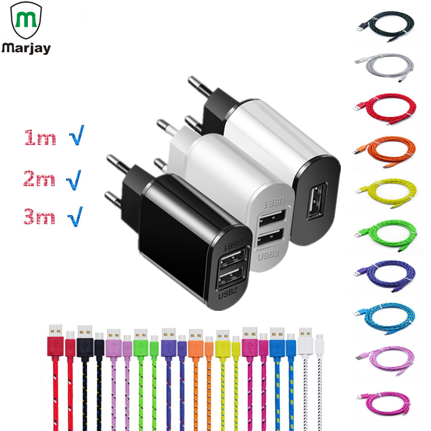 Marjay Universal USB Charger For Mobile Phone Tablets 5V 2A Travel Wall Charger Adapter Micro USB Cables For Samsung Xiaomi