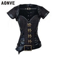 AONVE Women Steampunk Corsets Sexy Lace Up buckle Vintage Corselet Leather Patchwork Retro Button Bustiers Gothic Gorset Tops