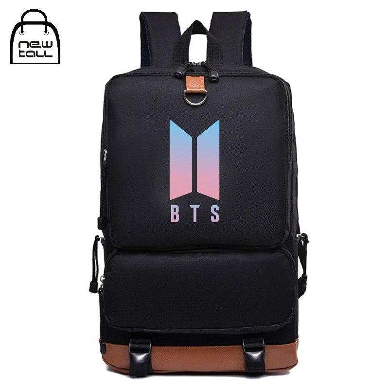 все цены на Newtall KPOP Bangtan Boys BTS LOVE YOURSELF Tear Backpack Laptop Man Bookbag Shoulder Bag Suga V Back to School Travel Bag Nylon