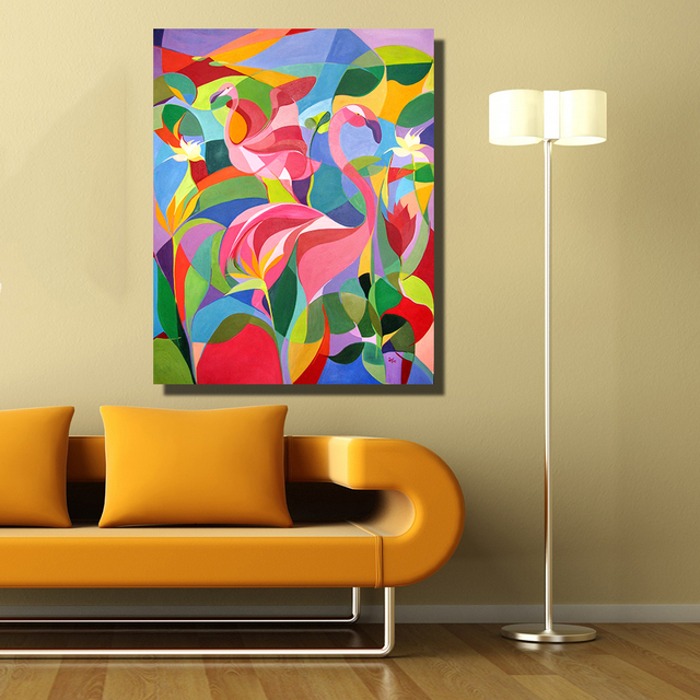 HDARTISAN Home Decor Wall Painting Pink Flamingo Abstract Oil ...