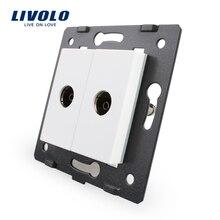 Livolo стандарт ЕС, розетка/штепсельный элемент, для продуктов DIY, 2 банды ТВ розетка/розетка VL-C7-2V-11(4 цвета