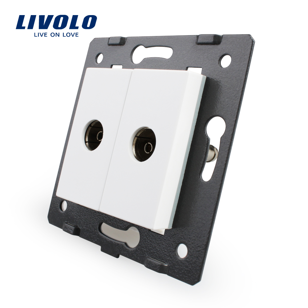 Livolo EU Standard, Socket/Plug  Element, For DIY Products, 2 Gangs TV Socket / Outlet VL-C7-2V-11 (4 Colors)