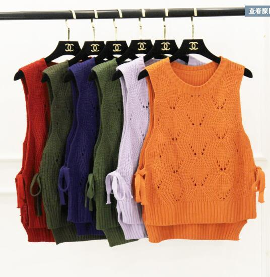 Suéter de las mujeres vendaje corto suéter de Punto chaleco Maga