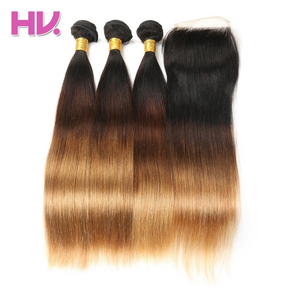 Hair Villa Ombre Brasilian Straight Hair With Closure # 1b / 4/27 4 * - Mänskligt hår (svart) - Foto 4