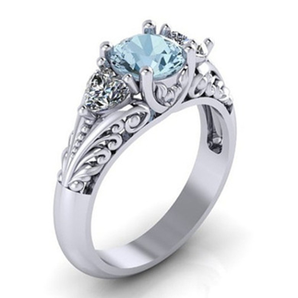 Crown Antique Mounting Design Three Cubic Zirconia Stone Engagement Ring