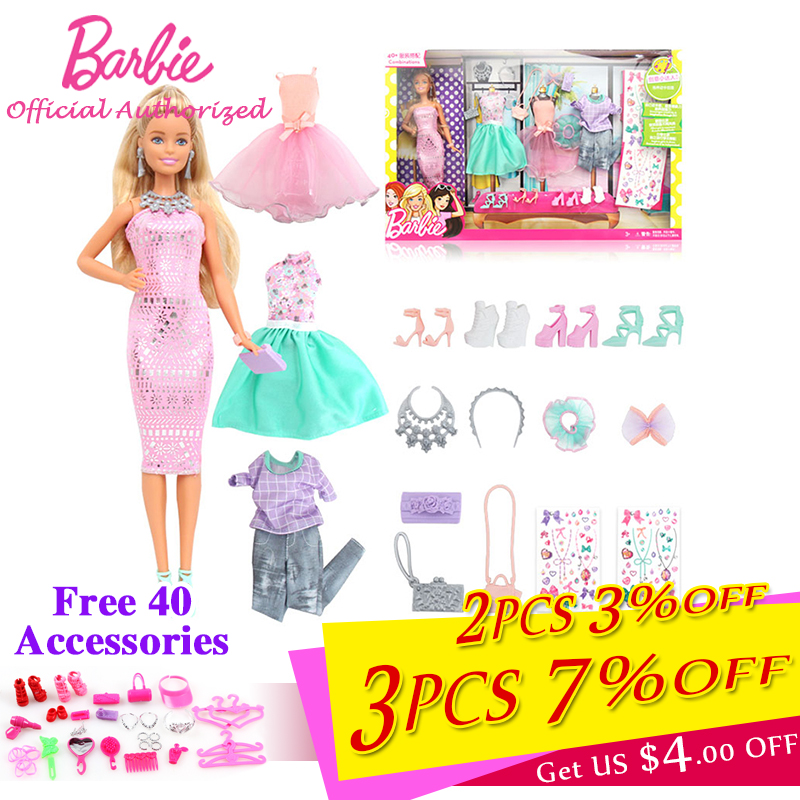 2017 Barbie Authorize Brand DIY Clothes Style Dress Up Baby Toys For Little Girl Christmas Day's Gift Barbie Boneca DVJ64 brand new 1996 hallmark barbie large christmas stocking red sateen