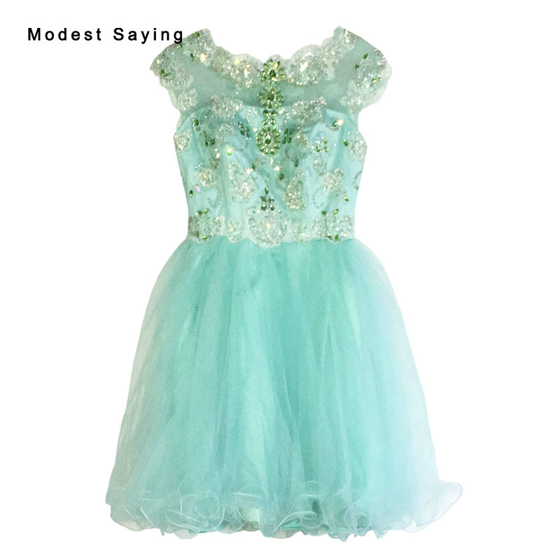 Luxury Mint Green Ball Gown Beaded Crystal Cocktail Dress 2017