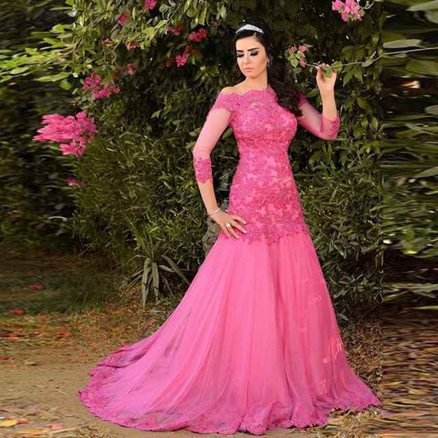 Fashion Fuchsia Plus Size Prom Dresses With Sleeves Boat Neck Beaded ...