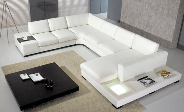 European Laest Designer Sofa Large Size U Shaped White Leather Sofa With  LED Light, Coffee