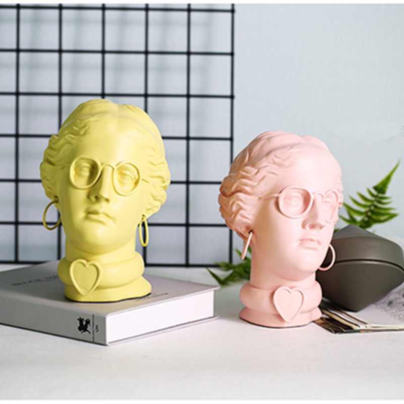 Roman Mythology Beauty Girls Bust Head Portraits Yellow/Pink Statue Resin Craftwork Home Furnishing Articles L2408
