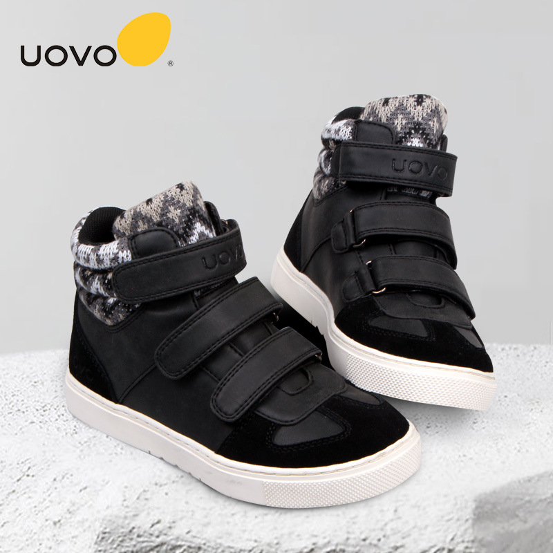 UOVO 2017 Winter Warm Shoes Children Rubber Outsole Sport Sneaker Shoes with Cotton Cashmere Footwear for Kids Girls Boys CCS027 yec ccs pcu