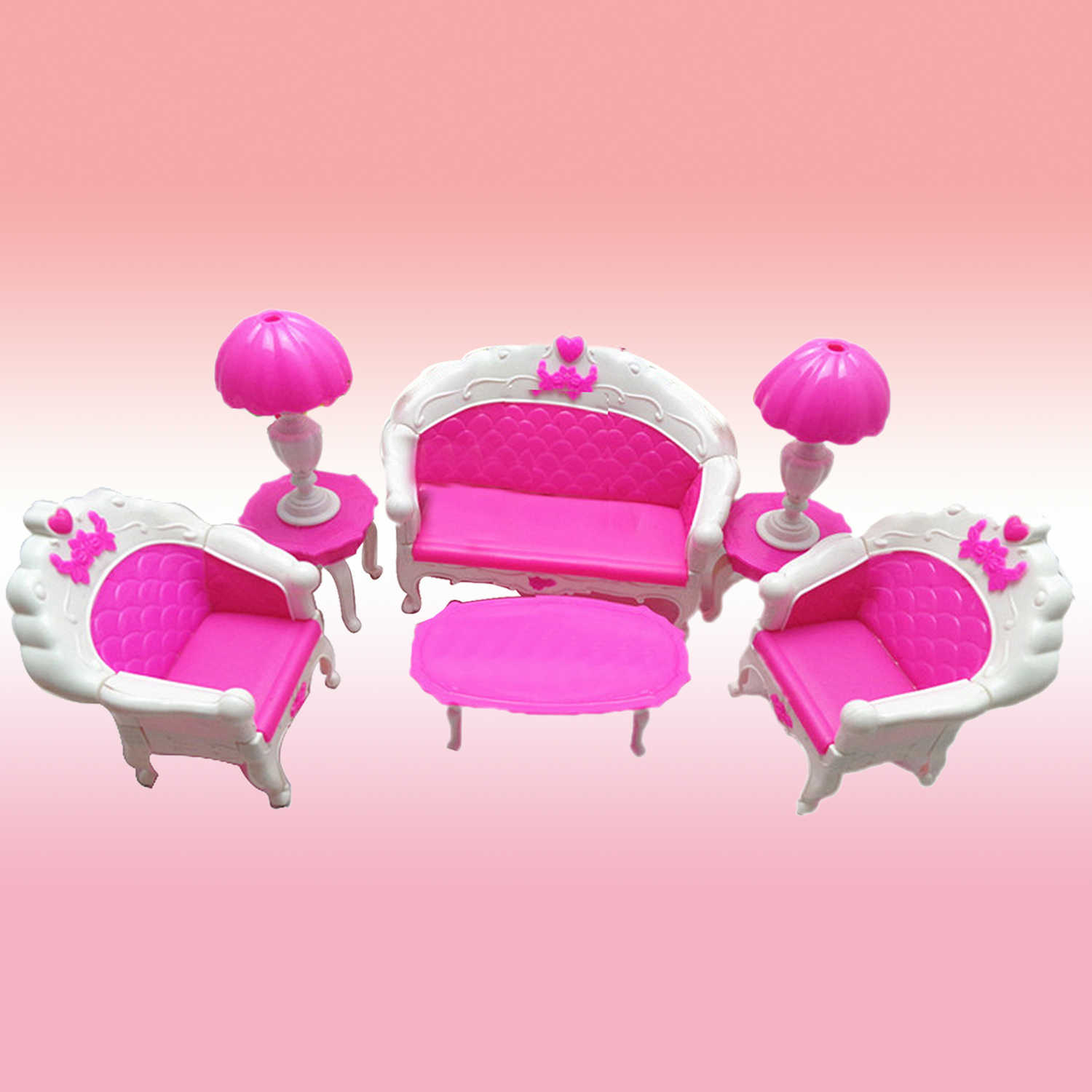 Pleasant 6Pcs Mini Dollhouse Furniture Living Room Parlor Sofa Chair Couch Desk Lamp Tea Table Doll House Accessories For Barbie Doll Toy Short Links Chair Design For Home Short Linksinfo