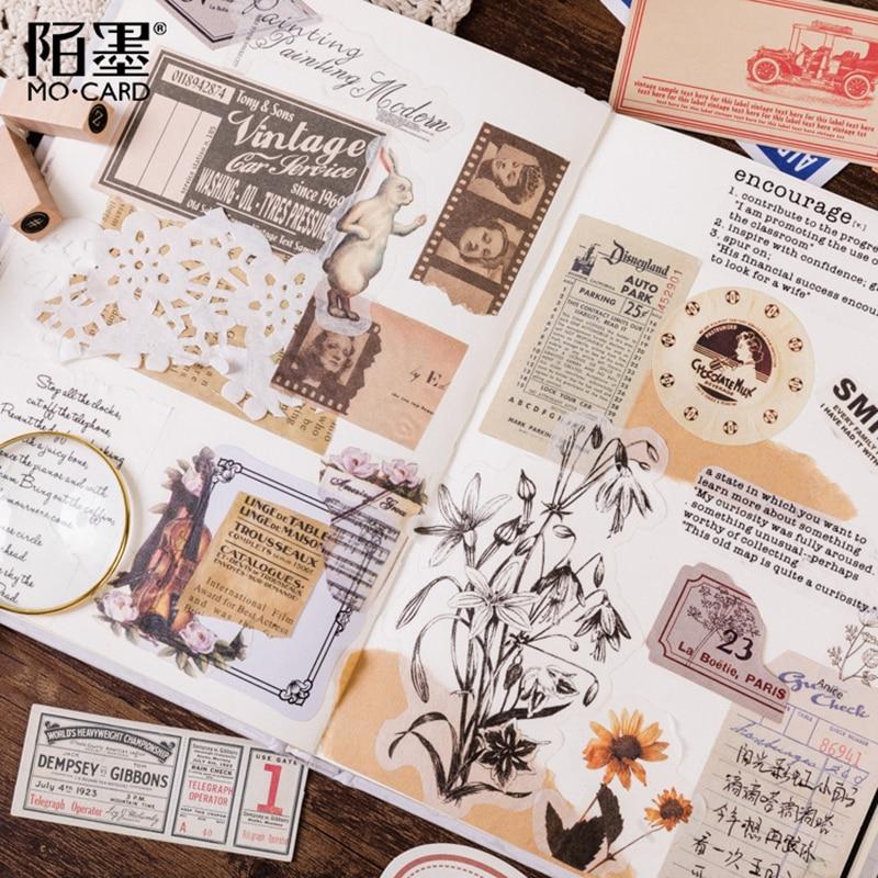 Купить с кэшбэком 60Pcs/lot Vintage Matchbox Series Sticker Scrapbooking Creative DIY Decorative Adhesive Labels Memo Pad Sticker Journal Supplies