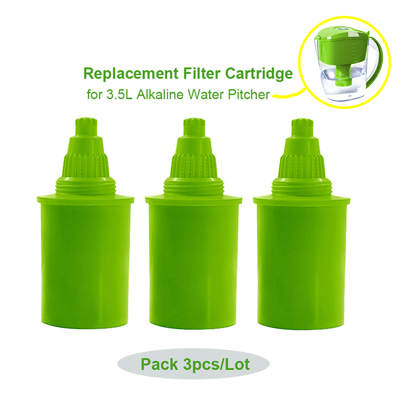 3pcs Lot Alkaline Ionizer Pitcher Replacement Filter Cartridge for 3 5L Home Alka pH Water ionizer