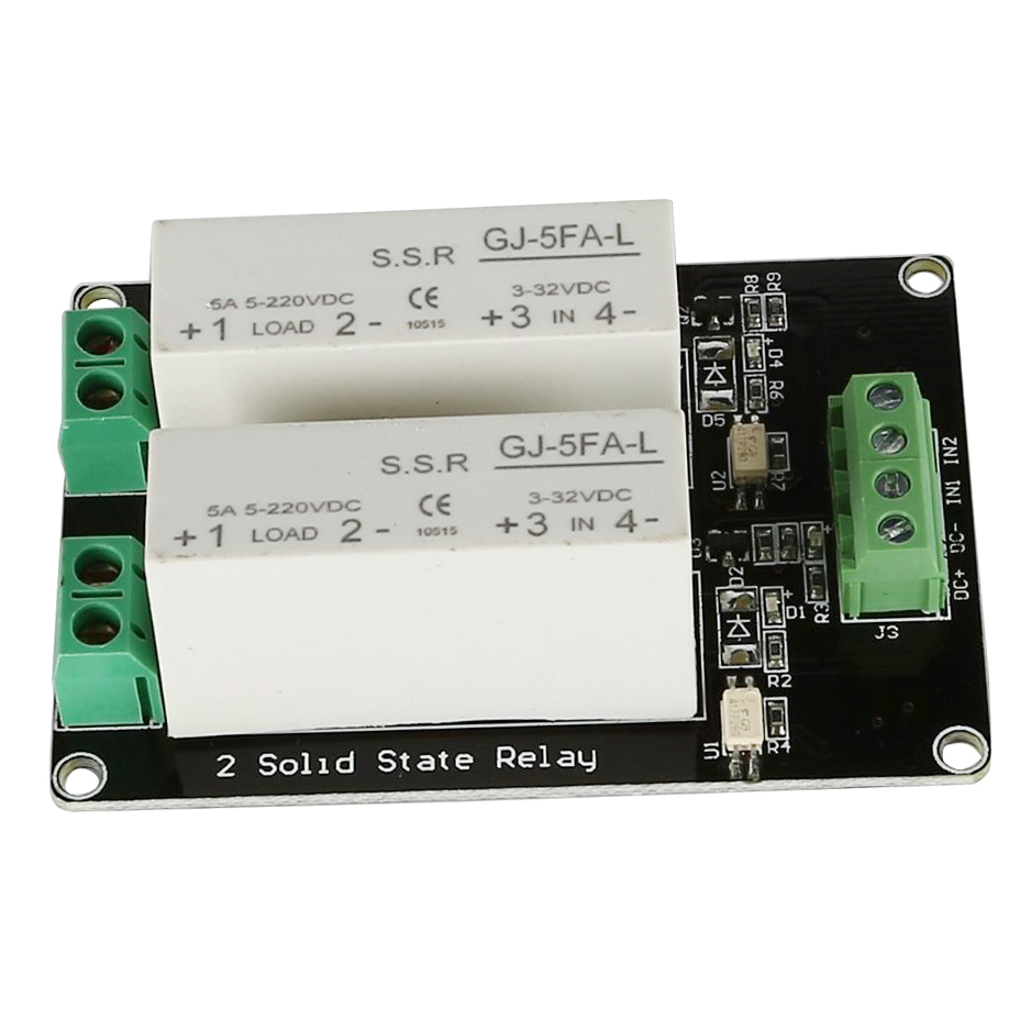 3-32V DC 2 Channel SSR Solid State Relay high-low trigger 5A 5v12v For Arduino 4 channel ssr solid state relay high low trigger 5a 3 32v for uno r3 h02