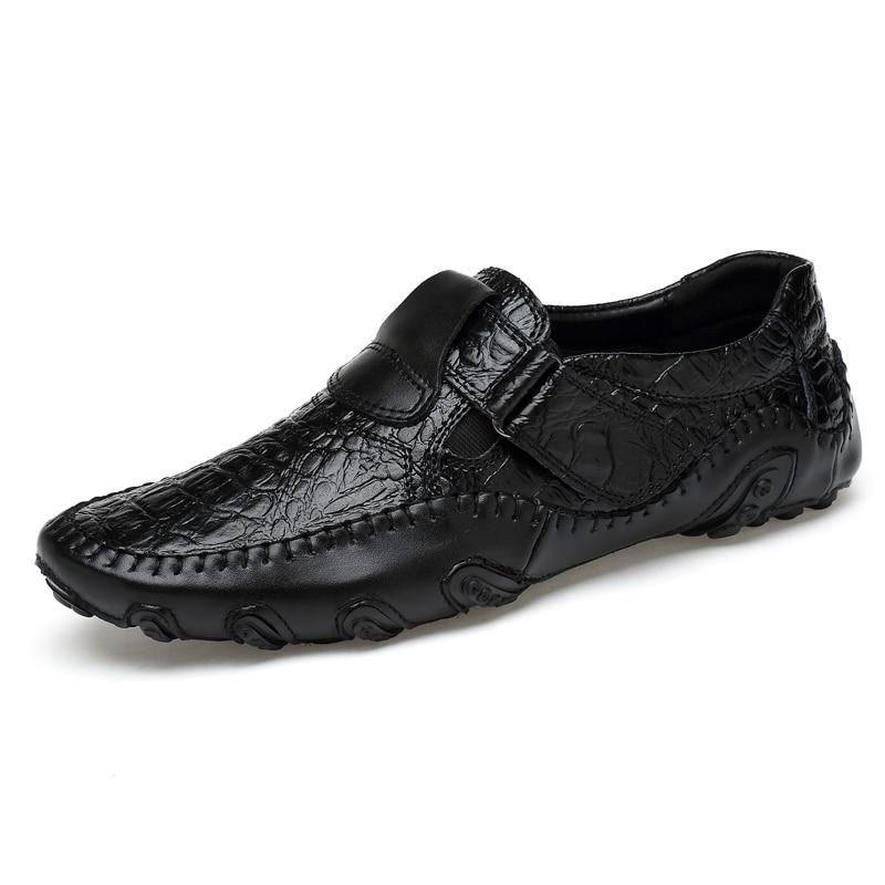 Décontracté Lanlojer En De Black Hommes Slip Mens Conduite Véritable Respirantes Marque Chaussures Cuir brown Main Mocassins Luxe Mode Sur T0Yq0Ewr