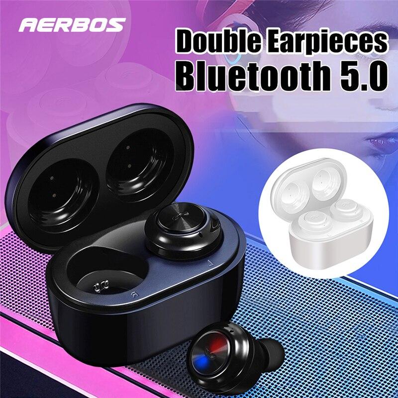 Wireless Earbuds Earphones Sport Sweatproof Mini in-Ear Bluetooth 5.0 headphone with Mic 3D Stereo Sport Earbuds for Running Gym